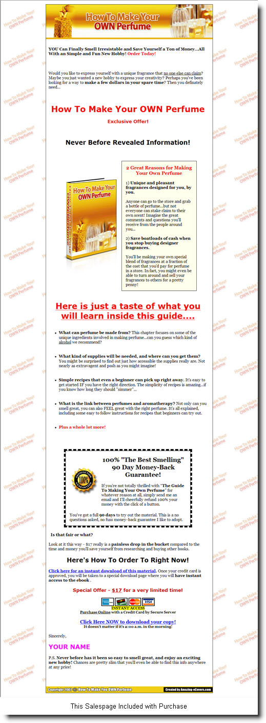 How to Make Your Own Perfume - ebook - Private Label Rights
