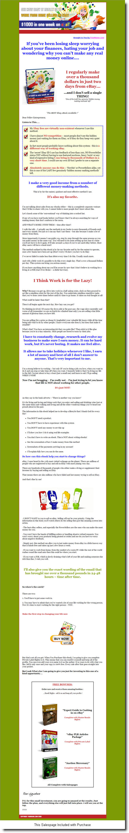 $1000 in One Week on eBay - ebook - Private Label Rights