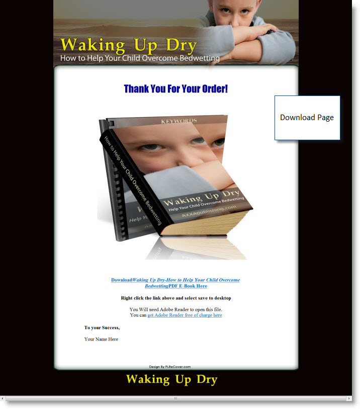 Waking Up Dry - A Guide to Bedwetting - ebook - Private Label Rights
