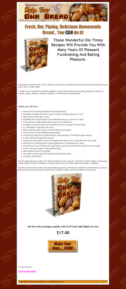 Make Your Own Bread - ebook - Private Label Rights