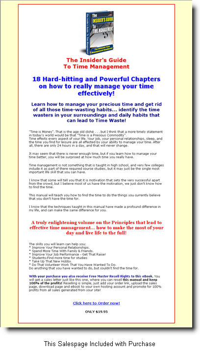 Insiders Guide To Time Management Master Resale Rights Ebooks